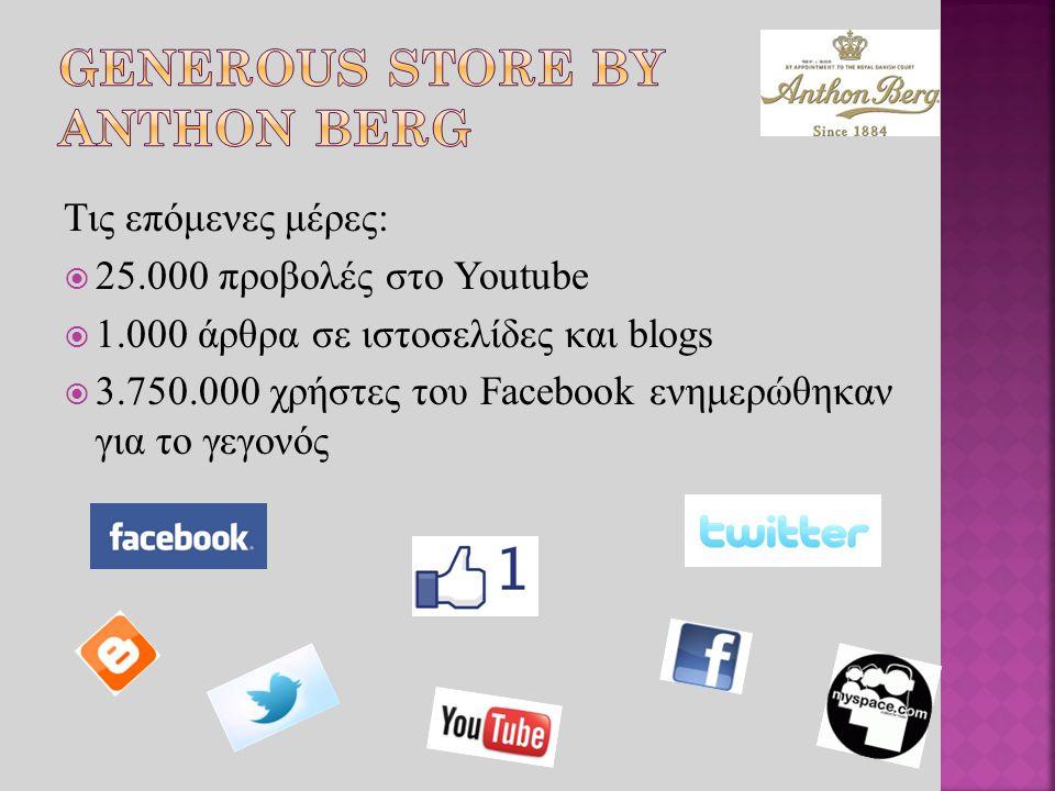 Τις επόμενες μέρες:  25.000 προβολές στο Youtube  1.000 άρθρα σε ιστοσελίδες και blogs  3.750.000 χρήστες του Facebook ενημερώθηκαν για το γεγονός