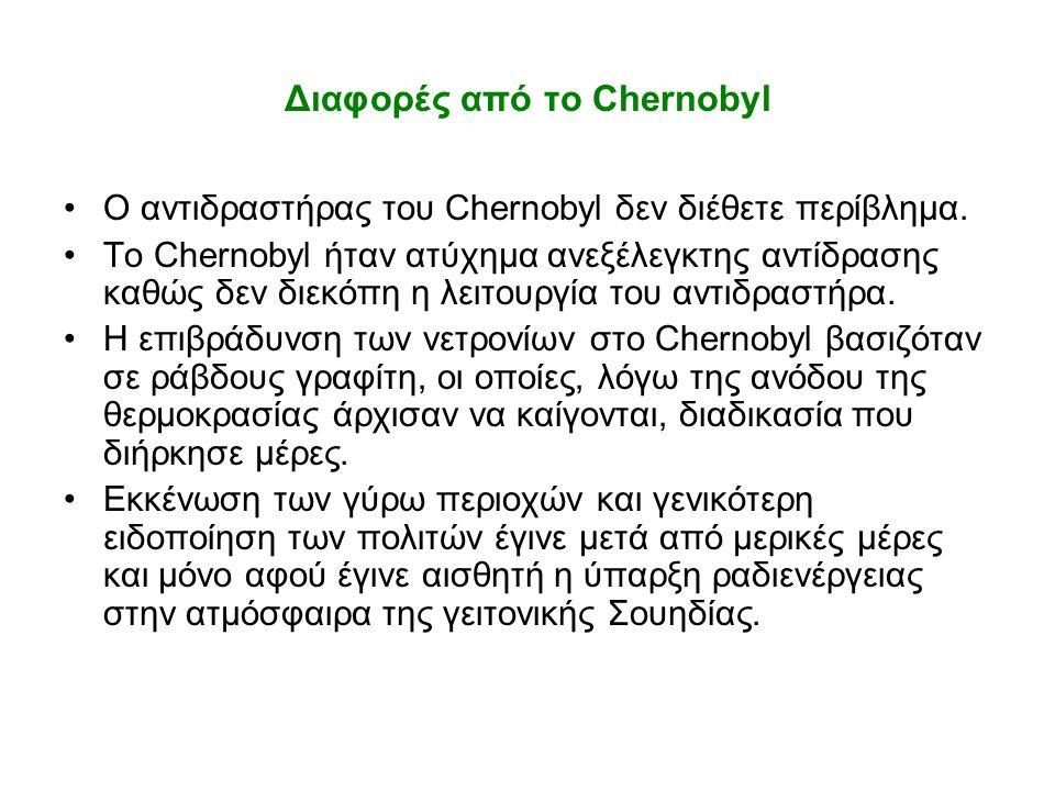Διαφορές από το Chernobyl •O αντιδραστήρας του Chernobyl δεν διέθετε περίβλημα. •To Chernobyl ήταν ατύχημα ανεξέλεγκτης αντίδρασης καθώς δεν διεκόπη η