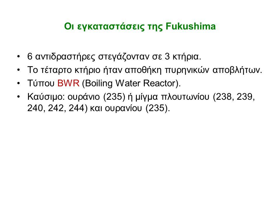 Οι εγκαταστάσεις της Fukushima •6 αντιδραστήρες στεγάζονταν σε 3 κτήρια. •Το τέταρτο κτήριο ήταν αποθήκη πυρηνικών αποβλήτων. •Τύπου BWR (Boiling Wate