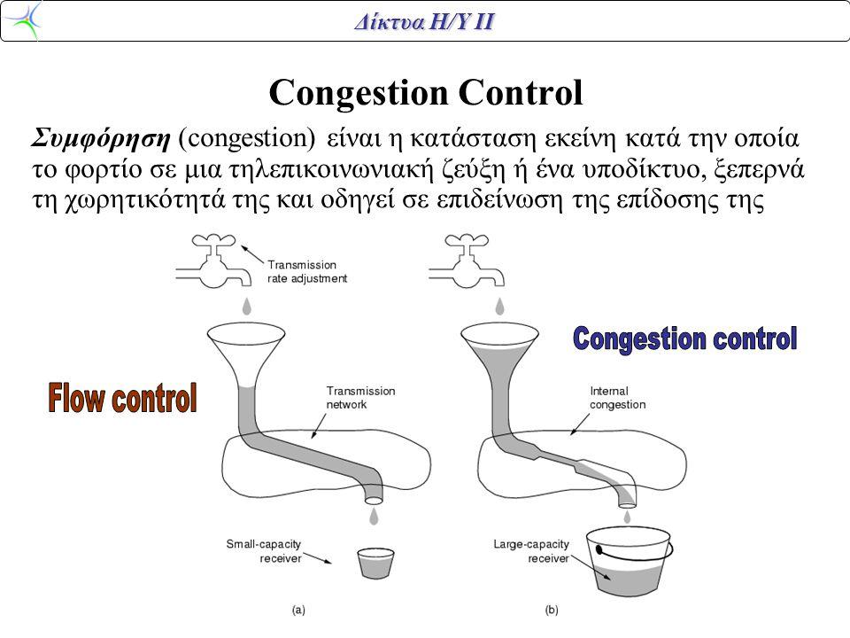 Δίκτυα Η/Υ ΙΙ Congestion Control Συμφόρηση (congestion) είναι η κατάσταση εκείνη κατά την οποία το φορτίο σε μια τηλεπικοινωνιακή ζεύξη ή ένα υποδίκτυο, ξεπερνά τη χωρητικότητά της και οδηγεί σε επιδείνωση της επίδοσης της