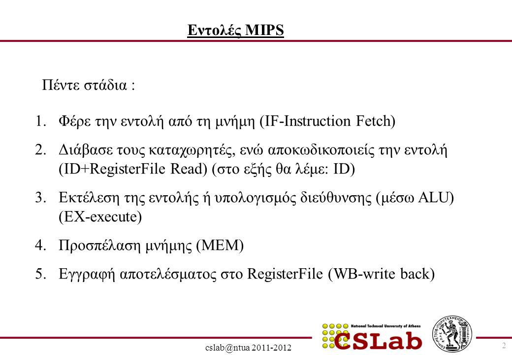 28/6/2014 cslab@ntua 2011-2012 3 Single-cycle vs pipelined performance: Single cycle: όλες οι εντολές διαρκούν ένα κύκλο ρολογιού, ίσο με το μήκος της πιο χρονοβόρου εντολής Έστω: 2 ns για ALU, MEM ανάγνωση ή εγγραφή και 1 ns για register file ανάγνωση ή εγγραφή 5ns2ns1ns2nsBranch(beq) 6ns1ns2ns1ns2nsR-Type (add,sub,and, or, slt) 7ns2ns 1ns2nsStore word (sw) 8ns1ns2ns 1ns2nsLoad word (lw) Total TimeRegister Write Data accessALU operation Register read Instruct.