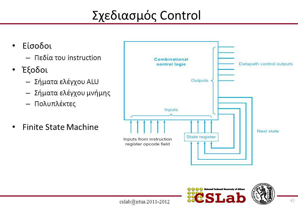 28/6/2014 cslab@ntua 2011-2012 Σχεδιασμός Control • Είσοδοι – Πεδία του instruction • Έξοδοι – Σήματα ελέγχου ALU – Σήματα ελέγχου μνήμης – Πολυπλέκτε