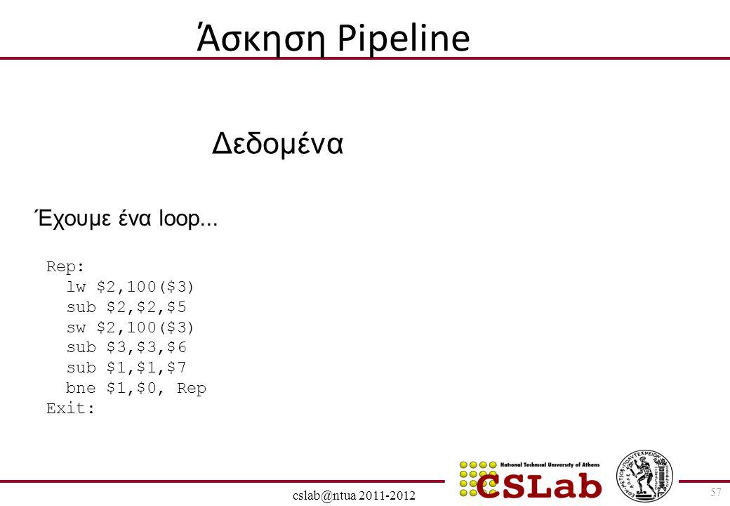 28/6/2014 cslab@ntua 2011-2012 57 Άσκηση Pipeline Rep: lw $2,100($3) sub $2,$2,$5 sw $2,100($3) sub $3,$3,$6 sub $1,$1,$7 bne $1,$0, Rep Exit: Δεδομέν