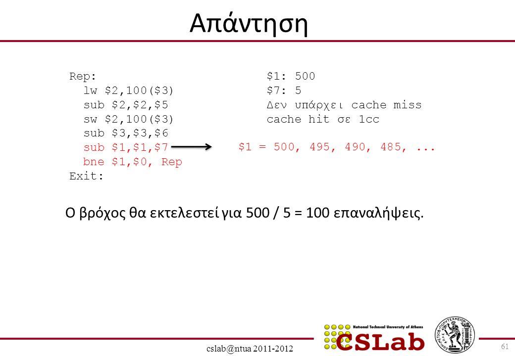 28/6/2014 cslab@ntua 2011-2012 61 Απάντηση Ο βρόχος θα εκτελεστεί για 500 / 5 = 100 επαναλήψεις. Rep: lw $2,100($3) sub $2,$2,$5 sw $2,100($3) sub $3,