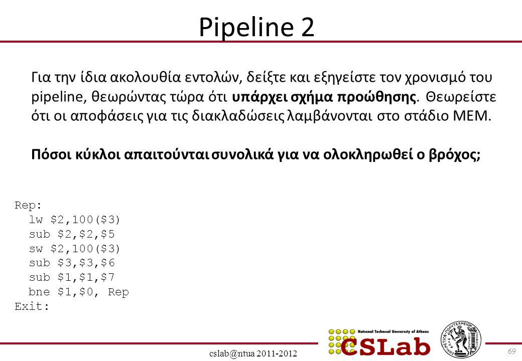 28/6/2014 cslab@ntua 2011-2012 69 Pipeline 2 Για την ίδια ακολουθία εντολών, δείξτε και εξηγείστε τον χρονισμό του pipeline, θεωρώντας τώρα ότι υπάρχε