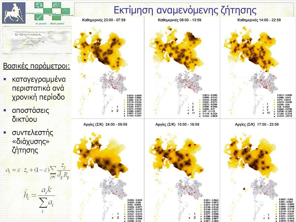 Εκτίμηση αναμενόμενης ζήτησης Βασικές παράμετροι:  καταγεγραμμένα περιστατικά ανά χρονική περίοδο  αποστάσεις δικτύου  συντελεστής «διάχυσης» ζήτησης