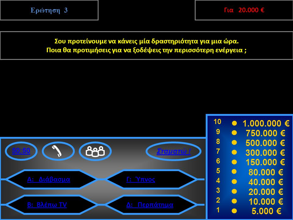 Ερώτηση 3 10 9 8 7 6 5 4 3 2 1 1.000.000 € 750.000 € 500.000 € 300.000 € 150.000 € 80.000 € 40.000 € 20.000 € 10.000 € 5.000 € 50:50 Α: ΔιάβασμαΓ: Ύπνος Δ: ΠερπάτημαΒ: Βλέπω TV Δ: Περπάτημα 3 20.000 € Επόμενη Ερώτηση Σου προτείνουμε να κάνεις μία δραστηριότητα για μια ώρα.