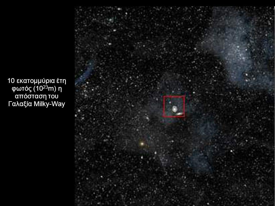 10 εκατομμύρια έτη φωτός (10 23 m) η απόσταση του Γαλαξία Milky-Way
