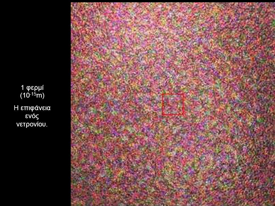 1 φερμί (10 -15 m) Η επιφάνεια ενός νετρονίου.