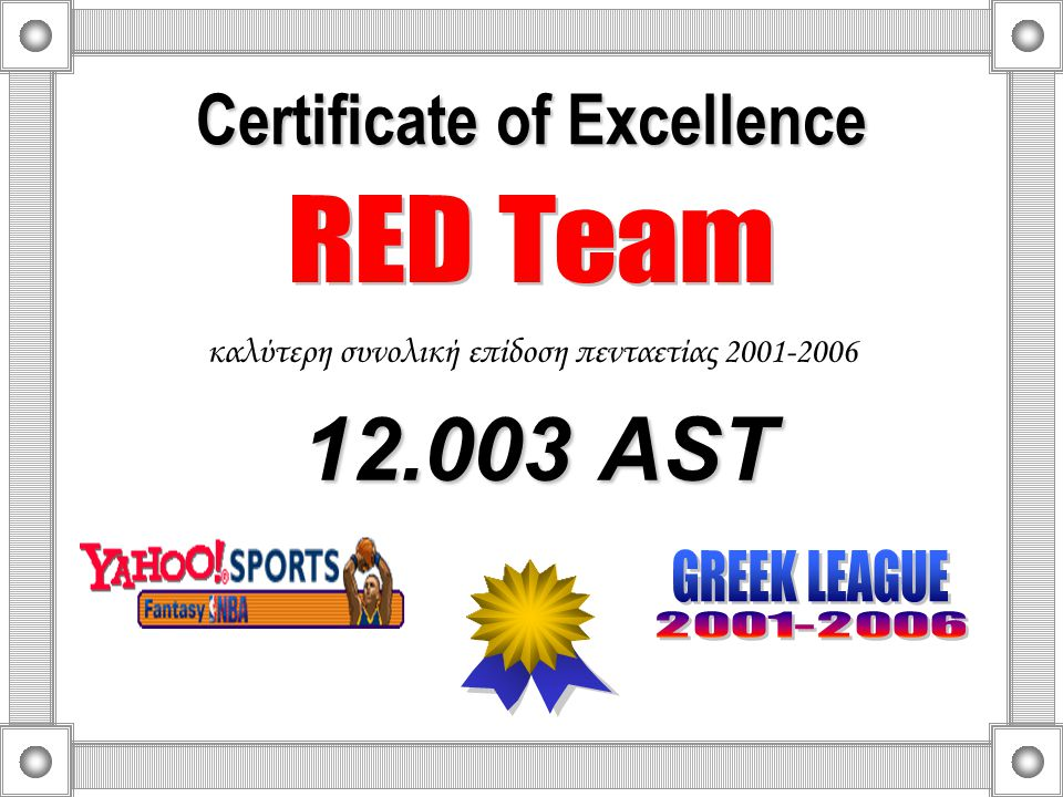 Certificate of Excellence Best Team 2001-2006 4 participations in playoffs in 5 seasons 1 st 2001-2002 & 2005-2006 3 rd 2002-2003