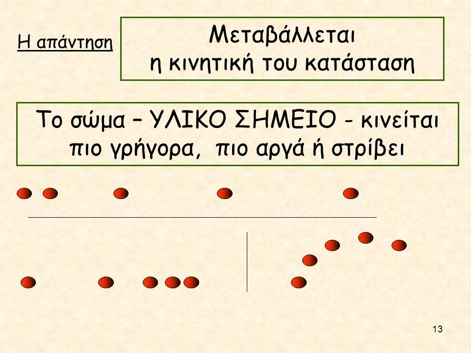 Η απάντηση Μεταβάλλεται η κινητική του κατάσταση Το σώμα – ΥΛΙΚΟ ΣΗΜΕΙΟ - κινείται πιο γρήγορα, πιο αργά ή στρίβει 13