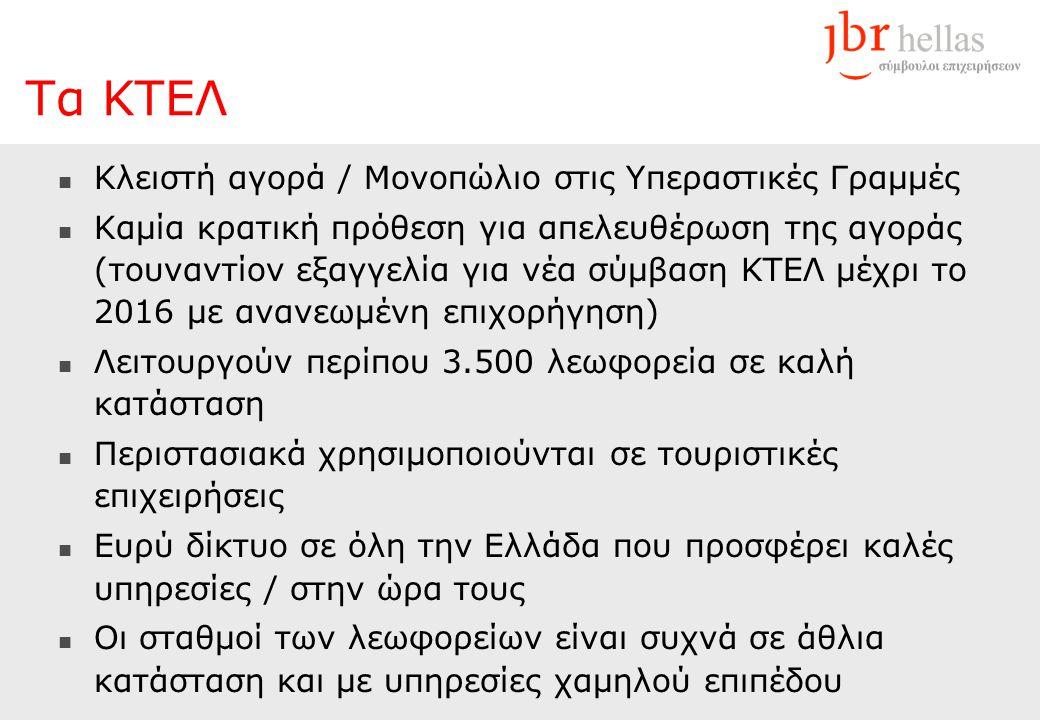  Κλειστή αγορά / Μονοπώλιο στις Υπεραστικές Γραμμές  Καμία κρατική πρόθεση για απελευθέρωση της αγοράς (τουναντίον εξαγγελία για νέα σύμβαση ΚΤΕΛ μέχρι το 2016 με ανανεωμένη επιχορήγηση)  Λειτουργούν περίπου 3.500 λεωφορεία σε καλή κατάσταση  Περιστασιακά χρησιμοποιούνται σε τουριστικές επιχειρήσεις  Ευρύ δίκτυο σε όλη την Ελλάδα που προσφέρει καλές υπηρεσίες / στην ώρα τους  Οι σταθμοί των λεωφορείων είναι συχνά σε άθλια κατάσταση και με υπηρεσίες χαμηλού επιπέδου Τα ΚΤΕΛ