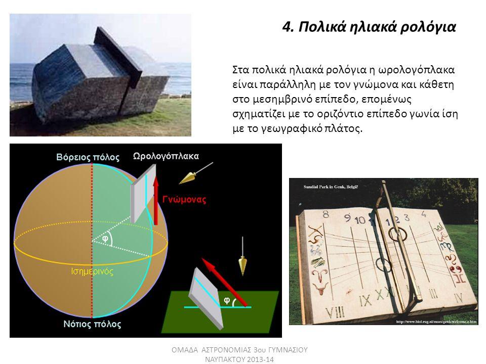 4. Πολικά ηλιακά ρολόγια Στα πολικά ηλιακά ρολόγια η ωρολογόπλακα είναι παράλληλη με τον γνώμονα και κάθετη στο μεσημβρινό επίπεδο, επομένως σχηματίζε
