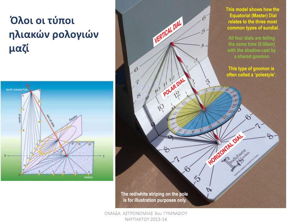 Όλοι οι τύποι ηλιακών ρολογιών μαζί ΟΜΑΔΑ ΑΣΤΡΟΝΟΜΙΑΣ 3ου ΓΥΜΝΑΣΙΟΥ ΝΑΥΠΑΚΤΟΥ 2013-14