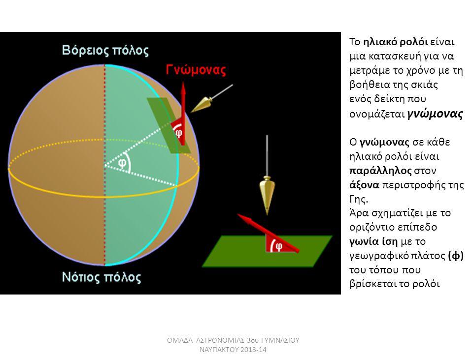 Το ηλιακό ρολόι είναι μια κατασκευή για να μετράμε το χρόνο με τη βοήθεια της σκιάς ενός δείκτη που ονομάζεται γνώμονας Ο γνώμονας σε κάθε ηλιακό ρολόι είναι παράλληλος στον άξονα περιστροφής της Γης.