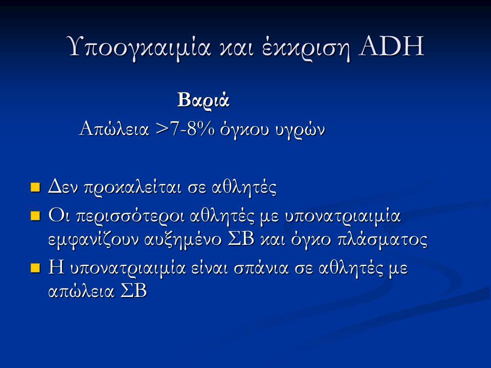 Υποογκαιμία και έκκριση ADH Βαριά Απώλεια >7-8% όγκου υγρών  Δεν προκαλείται σε αθλητές  Οι περισσότεροι αθλητές με υπονατριαιμία εμφανίζουν αυξημέν