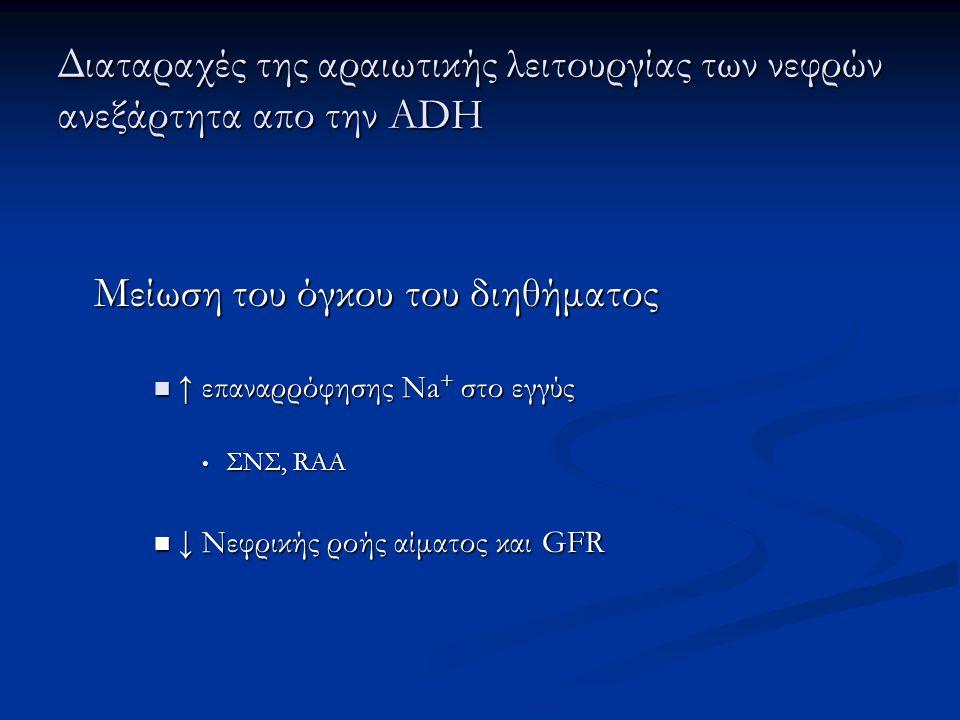 Διαταραχές της αραιωτικής λειτουργίας των νεφρών ανεξάρτητα απο την ADH Μείωση του όγκου του διηθήματος  ↑ επαναρρόφησης Na + στο εγγύς • ΣΝΣ, RAA 
