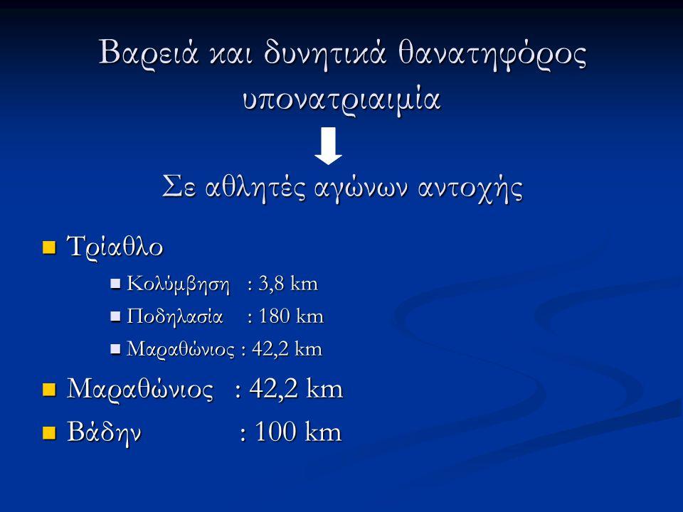 Βαρειά και δυνητικά θανατηφόρος υπονατριαιμία Σε αθλητές αγώνων αντοχής  Τρίαθλο  Κολύμβηση : 3,8 km  Ποδηλασία : 180 km  Μαραθώνιος : 42,2 km  Β