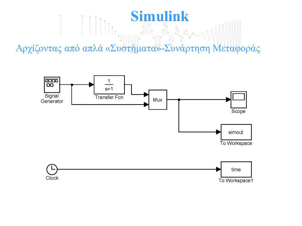 Simulink Αρχίζοντας από απλά «Συστήματα»-Συνάρτηση Μεταφοράς