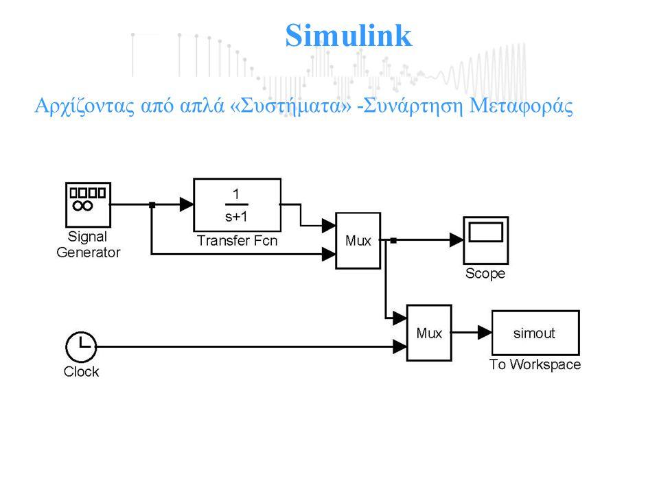 Simulink Αρχίζοντας από απλά «Συστήματα» -Συνάρτηση Μεταφοράς