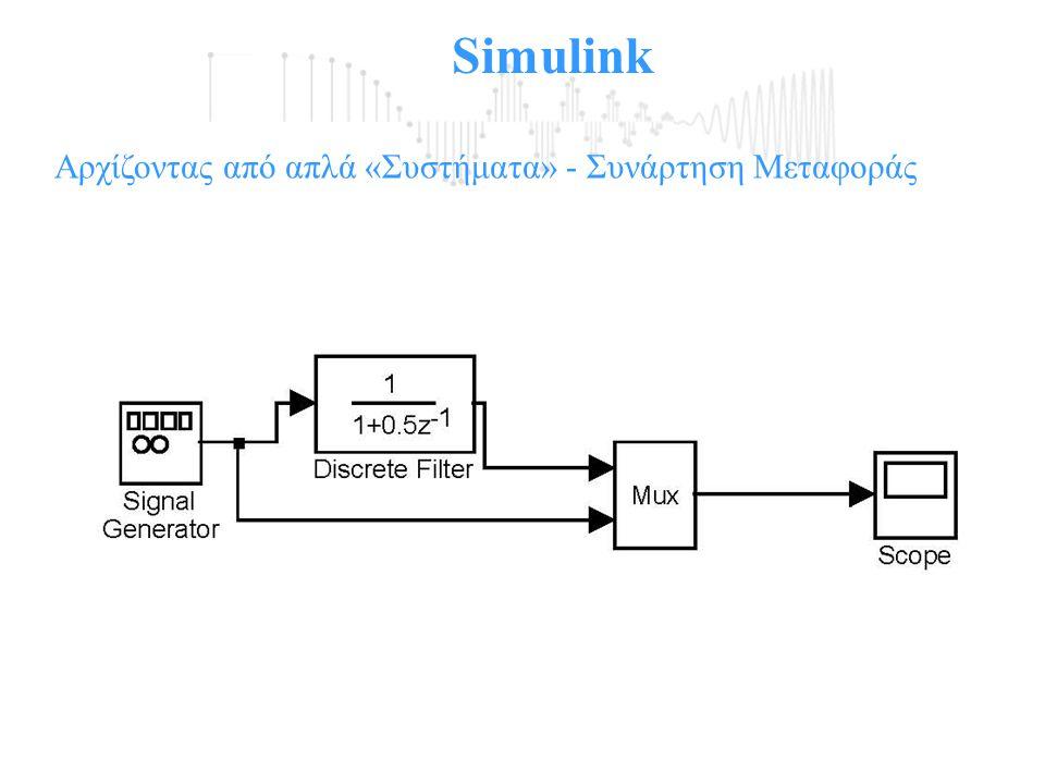 Simulink Αρχίζοντας από απλά «Συστήματα» - Συνάρτηση Μεταφοράς