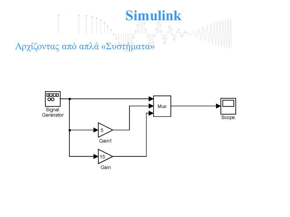 Simulink Αρχίζοντας από απλά «Συστήματα»