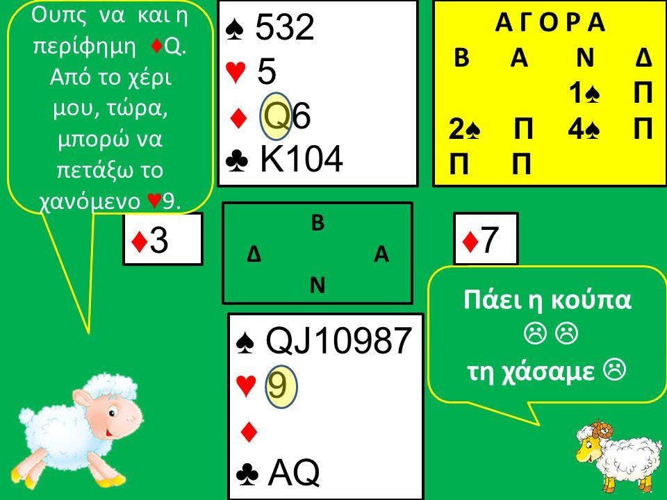 ♠ QJ10987 ♥ 9  ♣ ΑQ ♠ 532 ♥ 5  Q6 ♣ K104 ♦3♦3 Β Δ Α Ν ♦7♦7 Α Γ Ο Ρ Α B Α Ν Δ 1♠ Π 2♠ Π 4♠ Π Π Π Ουπς να και η περίφημη ♦ Q.