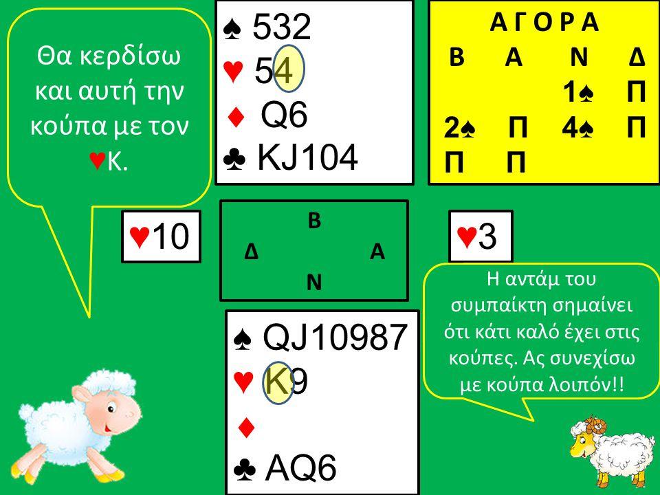 ♠ QJ10987 ♥ K9  ♣ ΑQ6 ♠ 532 ♥ 54  Q6 ♣ KJ104 ♥ 10 Β Δ Α Ν ♥3♥3 Α Γ Ο Ρ Α B Α Ν Δ 1♠ Π 2♠ Π 4♠ Π Π Π Θα κερδίσω και αυτή την κούπα με τον ♥ Κ.