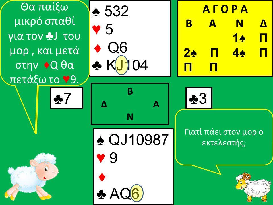 ♠ QJ10987 ♥ 9  ♣ ΑQ6 ♠ 532 ♥ 5  Q6 ♣ KJ104 ♣7 Β Δ Α Ν ♣3 Α Γ Ο Ρ Α B Α Ν Δ 1♠ Π 2♠ Π 4♠ Π Π Π Τώρα πρέπει να βρω τρόπο να πάω στον μορ, για να παίξω την ♦ Q.