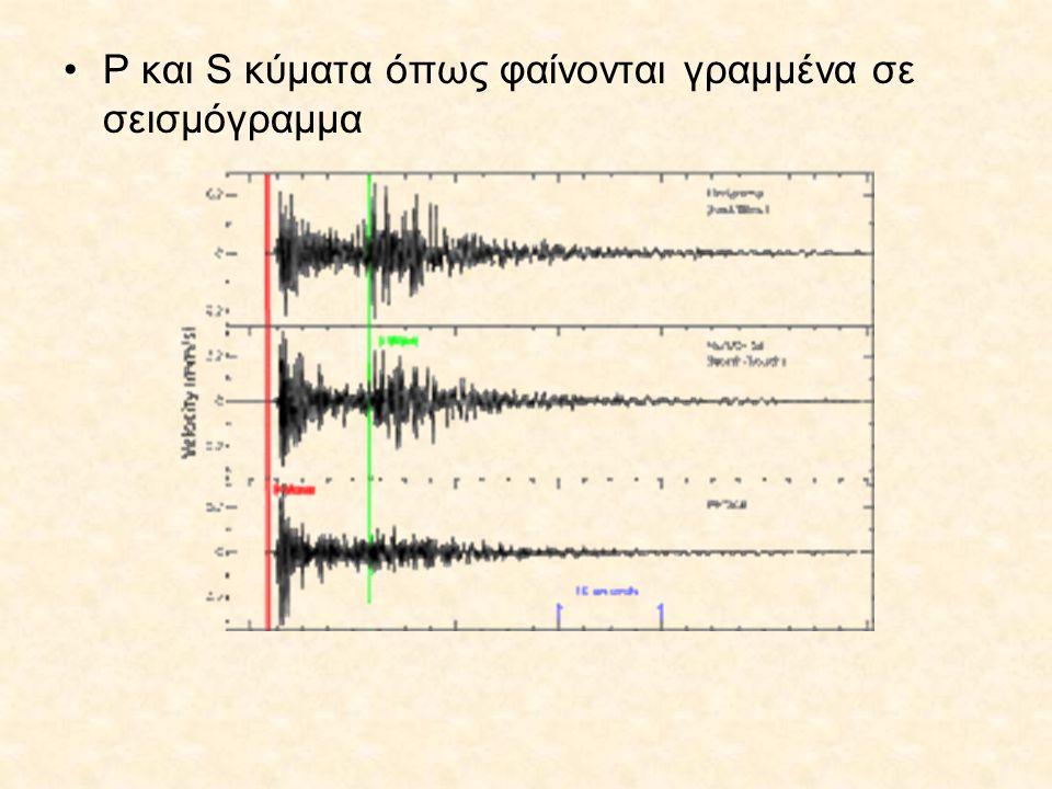•P και S κύματα όπως φαίνονται γραμμένα σε σεισμόγραμμα
