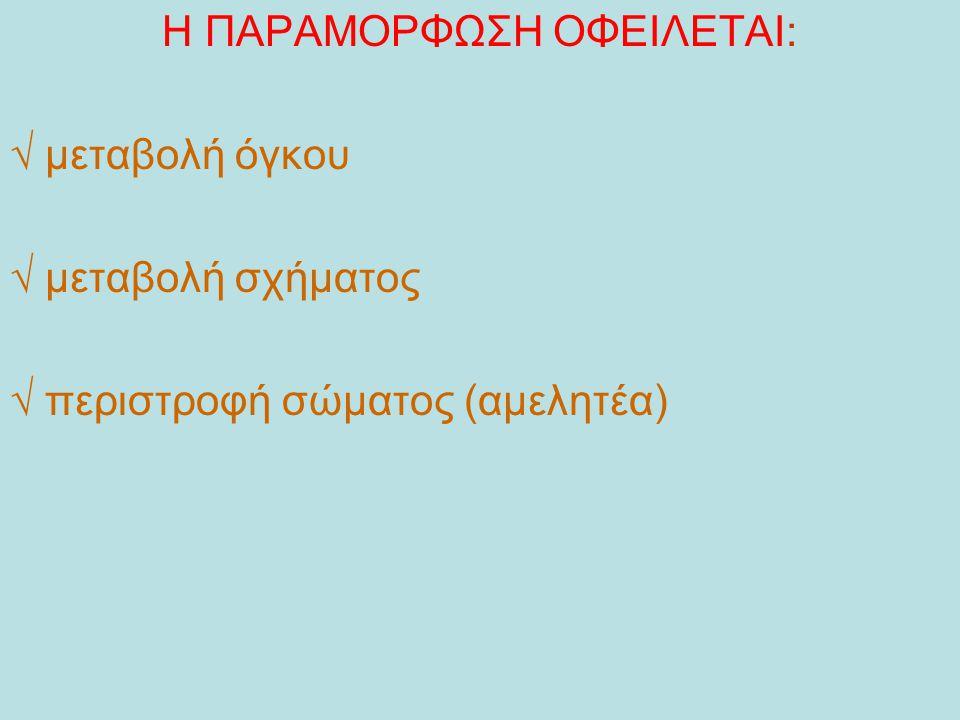Η ΠΑΡΑΜΟΡΦΩΣΗ ΟΦΕΙΛΕΤΑΙ: √ μεταβολή όγκου √ μεταβολή σχήματος √ περιστροφή σώματος (αμελητέα)