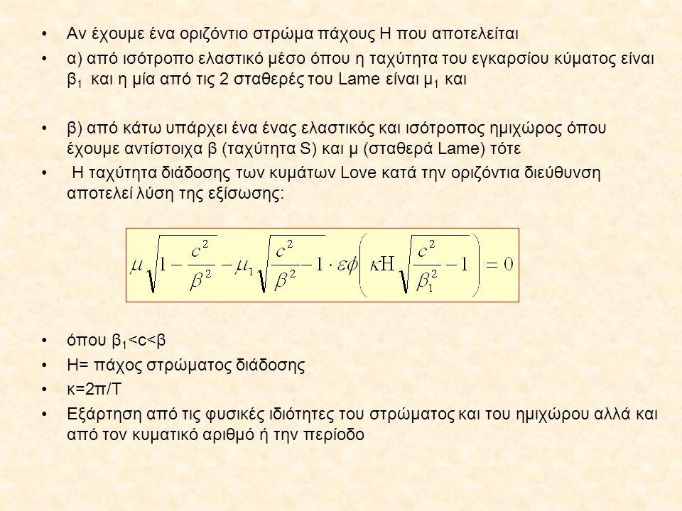•Αν έχουμε ένα οριζόντιο στρώμα πάχους Η που αποτελείται •α) από ισότροπο ελαστικό μέσο όπου η ταχύτητα του εγκαρσίου κύματος είναι β 1 και η μία από τις 2 σταθερές του Lame είναι μ 1 και •β) από κάτω υπάρχει ένα ένας ελαστικός και ισότροπος ημιχώρος όπου έχουμε αντίστοιχα β (ταχύτητα S) και μ (σταθερά Lame) τότε • Η ταχύτητα διάδοσης των κυμάτων Love κατά την οριζόντια διεύθυνση αποτελεί λύση της εξίσωσης: •όπου β 1 <c<β •Η= πάχος στρώματος διάδοσης •κ=2π/Τ •Εξάρτηση από τις φυσικές ιδιότητες του στρώματος και του ημιχώρου αλλά και από τον κυματικό αριθμό ή την περίοδο