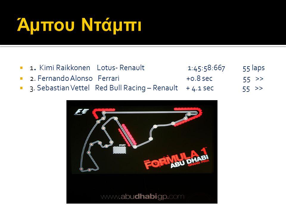 1. Sebastian Vettel Red Bull Racing – Renault 1:31:10:744 60 laps  2. Fernando Alonso Ferrari + 9.4 sec 60 >>  3. Mark Webber Red Bull Racing – Re
