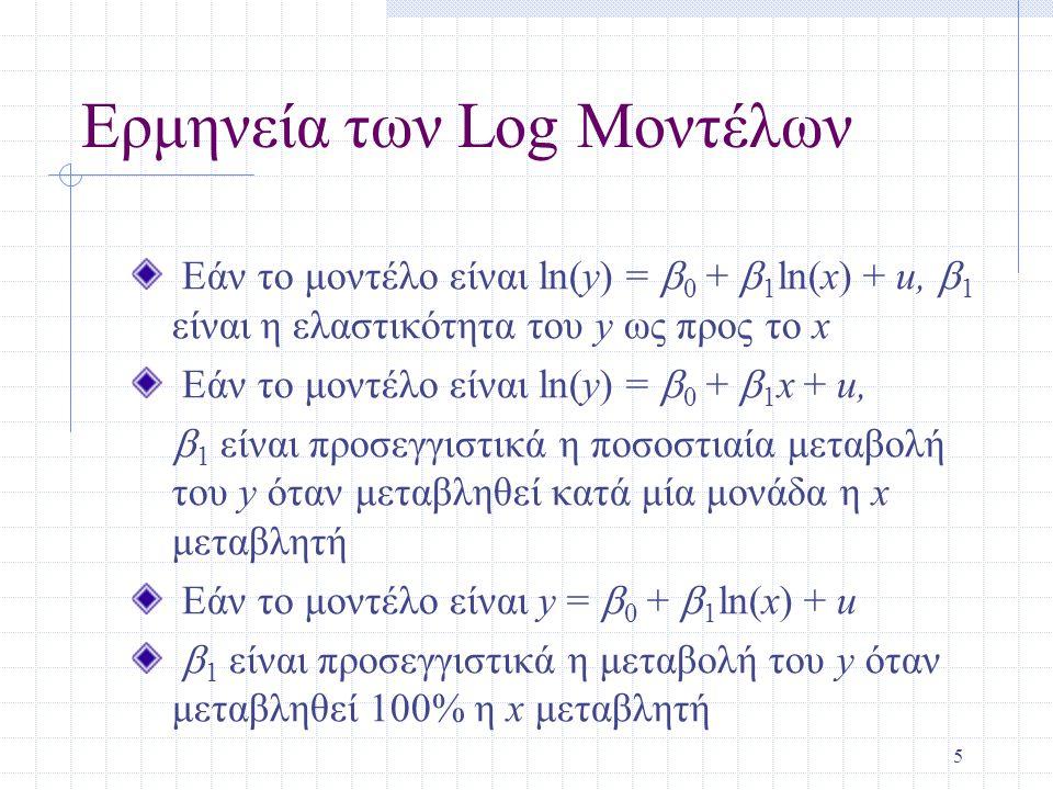 5 Ερμηνεία των Log Μοντέλων Εάν το μοντέλο είναι ln(y) =  0 +  1 ln(x) + u,  1 είναι η ελαστικότητα του y ως προς το x Εάν το μοντέλο είναι ln(y) =  0 +  1 x + u,  1 είναι προσεγγιστικά η ποσοστιαία μεταβολή του y όταν μεταβληθεί κατά μία μονάδα η x μεταβλητή Εάν το μοντέλο είναι y =  0 +  1 ln(x) + u  1 είναι προσεγγιστικά η μεταβολή του y όταν μεταβληθεί 100% η x μεταβλητή