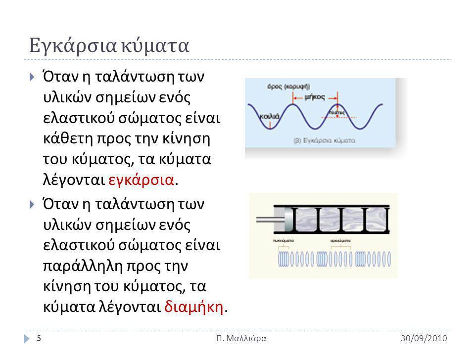 Φάση κύματος & Διαφορά Φάσης  Φάση σήματος (phase)  Εκφράζει τη διαφορά φ ενός κύματος, όταν συγκρίνεται με κάποιο άλλο που χρησιμοποιούμε σαν σήμα αναφοράς ( του οποίου ο κύκλος ξεκινάει τη χρονική στιγμή t=0) 30/09/2010 Π.
