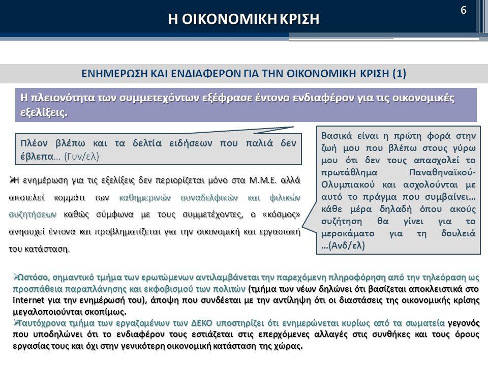 Η ΟΙΚΟΝΟΜΙΚΗ ΚΡΙΣΗ ΕΝΑΛΛΑΚΤΙΚΟΙ ΤΡΟΠΟΙ ΑΝΤΙΜΕΤΩΠΙΣΗΣ ΤΗΣ ΚΡΙΣΗΣ (2) «Να εντάξουν τους μετανάστες στο ασφαλιστικό σύστημα.» vs «Να μην έχουν δικαίωμα ασφάλισης οι μετανάστες που έρχονται για λίγα χρόνια στην Ελλάδα» (Ανδ/ ελ) (Γυν/ιδ) (Ανδ/αν) «Να μαζέψουν τις εισφορές για τα ταμεία από όσες επιχειρήσεις χρωστάνε.» (μεμ Ανδ/αν) «Να μην χρησιμοποιούν τα χρήματα των ταμείων στο χρηματιστήριο, να μην βγαίνουν τα χρήματα από τα ταμεία» (Ανδ/ελ) Εναλλακτικές λύσεις που αναφέρθηκαν για το Ασφαλιστικό: πόλωση στις ομάδες σε σχέση με την ένταξη των μεταναστών «Να λειτουργήσουν οι νόμοι και οι ελεγκτικοί μηχανισμοί» (Ανδ/ιδ) «Να ιδιωτικοποιηθούν τα πάντα.» (τμήμα Ανδ/ιδ) «Να κάνουν μείωση προσωπικού στο δημόσιο.» (μεμ Γυν/ιδ) «Να σταματήσουμε να ψηφίζουμε τους ίδιους πολιτικούς (Ανδ/ελ) (Γυν/ιδ) «Να δώσουμε όλοι μια έκτακτη εισφορά και να ξεχρεώσουμε.» (Γυν/ελ) «Να βγούμε από την Ε.Ε.» (μεμον.
