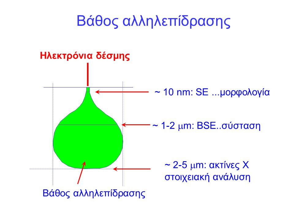 ~ 10 nm: SE...μορφολογία ~ 1-2  m: BSE..σύσταση ~ 2-5  m: ακτίνες Χ στοιχειακή ανάλυση Ηλεκτρόνια δέσμης Βάθος αλληλεπίδρασης