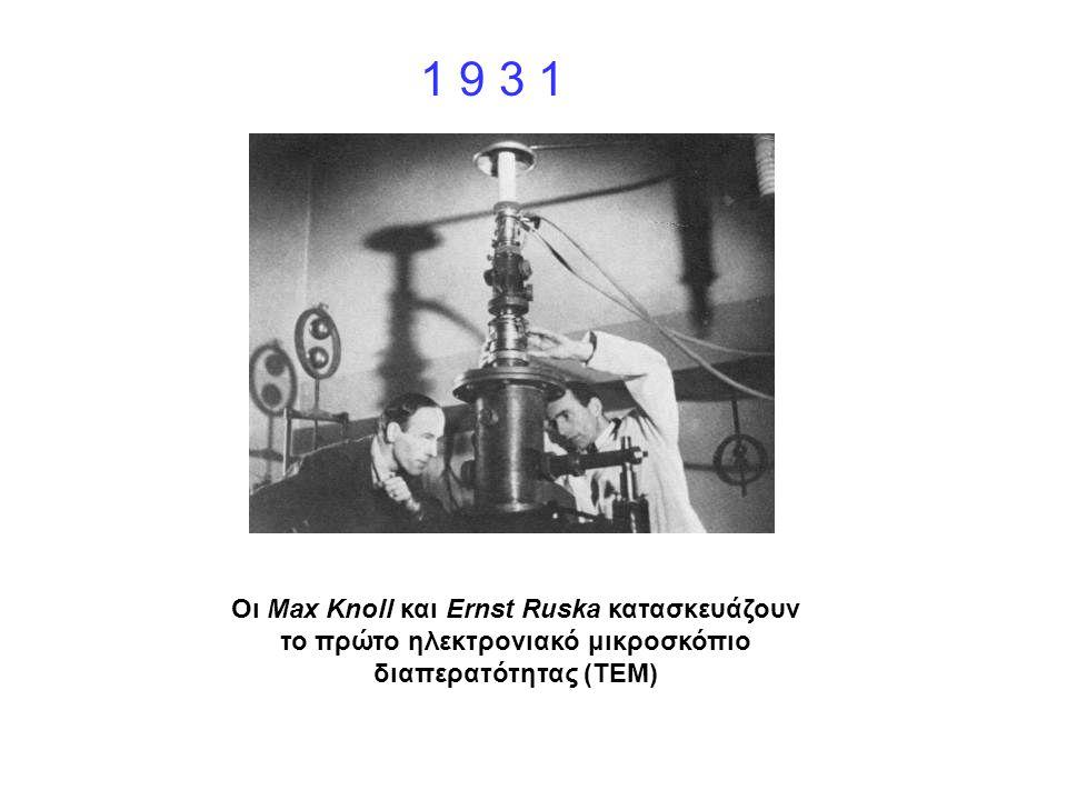 Οι Max Knoll και Ernst Ruska κατασκευάζουν το πρώτο ηλεκτρονιακό μικροσκόπιο διαπερατότητας (TEM) 1 9 3 1