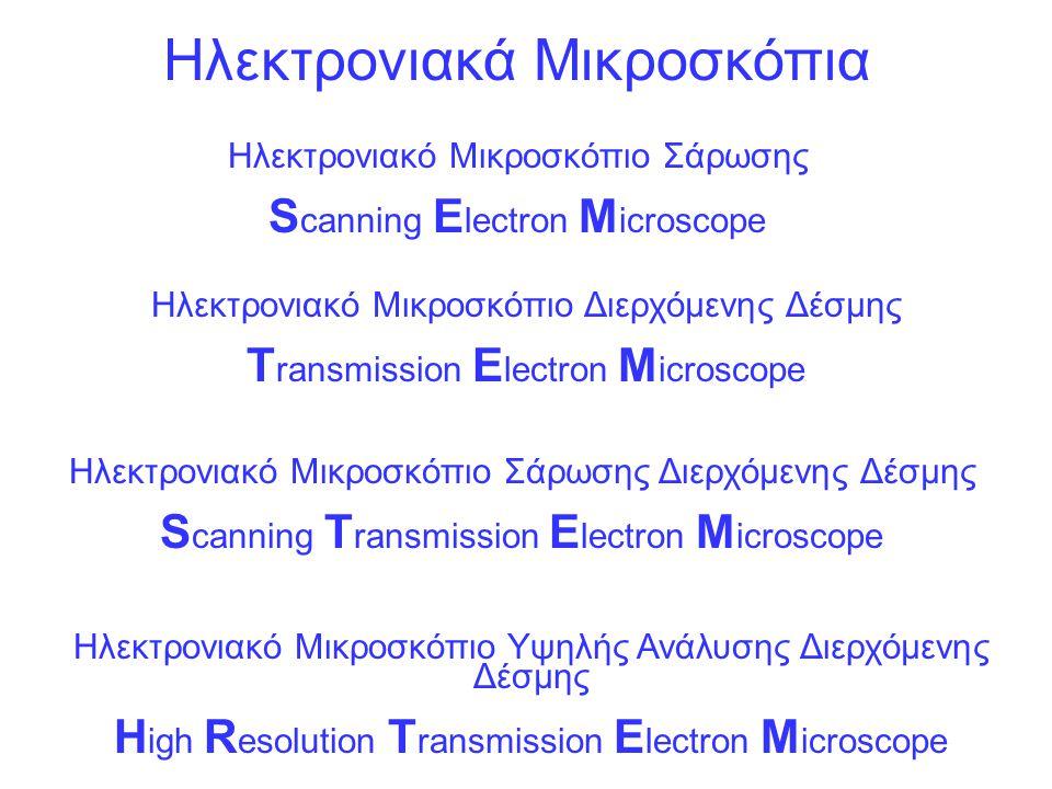 Ηλεκτρονιακά Μικροσκόπια Ηλεκτρονιακό Μικροσκόπιο Σάρωσης S canning E lectron M icroscope Ηλεκτρονιακό Μικροσκόπιο Διερχόμενης Δέσμης T ransmission E