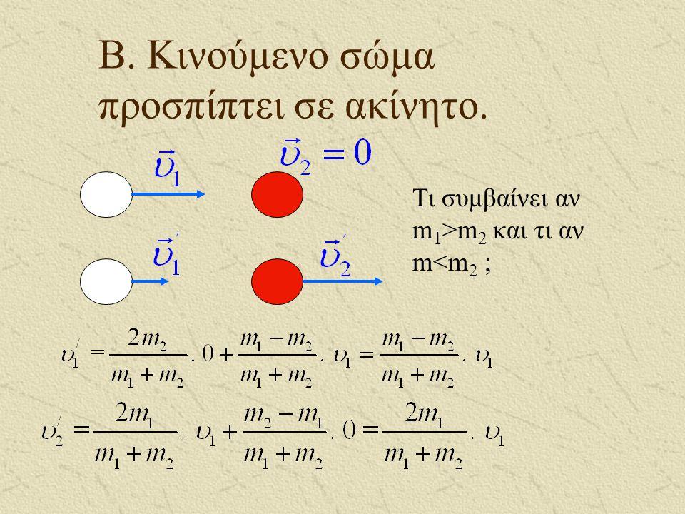 Α. Σώματα ίδιων μαζών Αν m 1 = m 2, τότε : και Έχουμε δηλαδή ανταλλαγή ταχυτήτων.