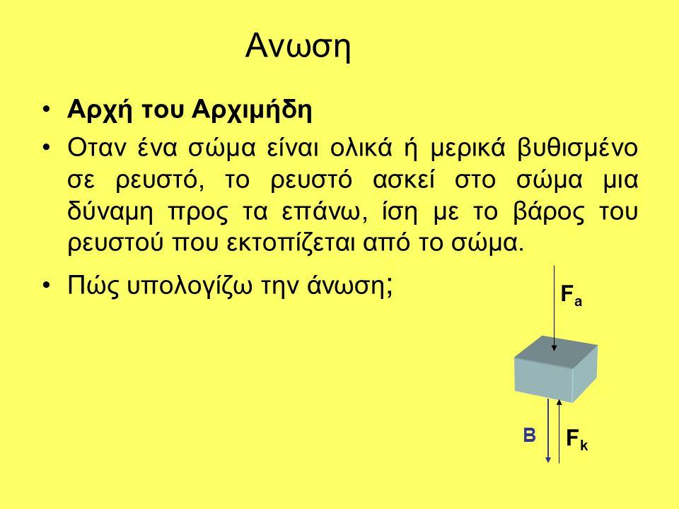 Ανωση •Αρχή του Αρχιμήδη •Οταν ένα σώμα είναι ολικά ή μερικά βυθισμένο σε ρευστό, το ρευστό ασκεί στο σώμα μια δύναμη προς τα επάνω, ίση με το βάρος τ