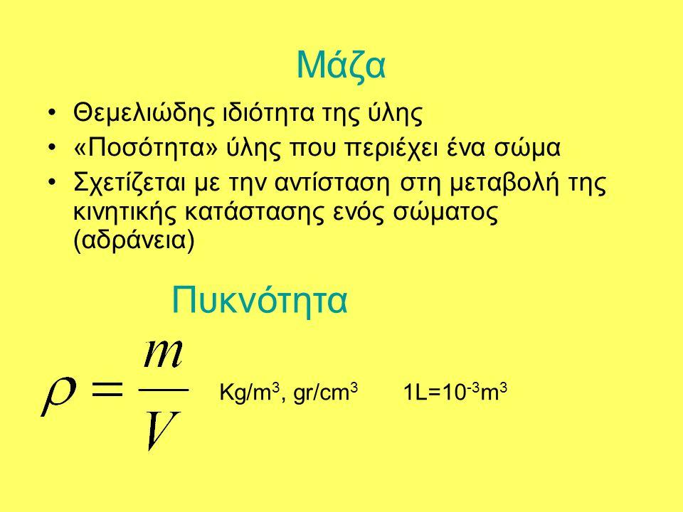 Μάζα •Θεμελιώδης ιδιότητα της ύλης •«Ποσότητα» ύλης που περιέχει ένα σώμα •Σχετίζεται με την αντίσταση στη μεταβολή της κινητικής κατάστασης ενός σώμα