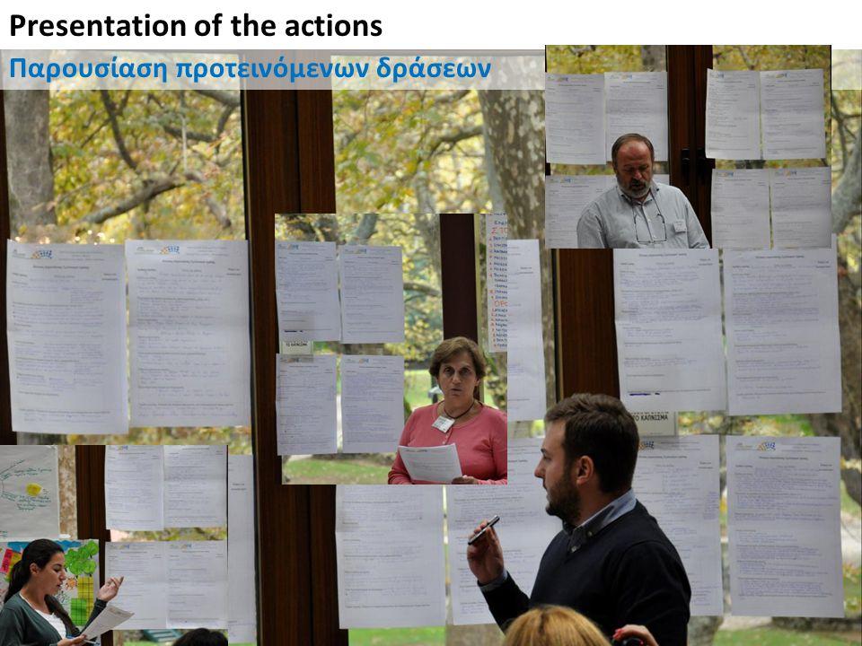 Presentation of the actions Παρουσίαση προτεινόμενων δράσεων