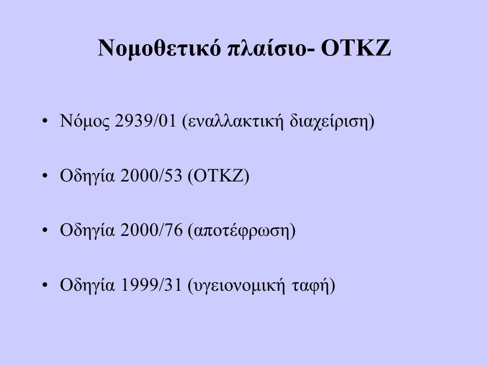 Νομοθετικό πλαίσιο- ΟΤΚΖ •Νόμος 2939/01 (εναλλακτική διαχείριση) •Οδηγία 2000/53 (ΟΤΚΖ) •Οδηγία 2000/76 (αποτέφρωση) •Οδηγία 1999/31 (υγειονομική ταφή