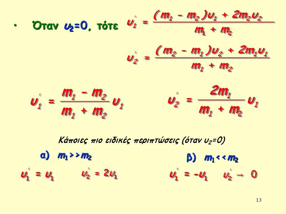 13 • Όταν υ 2 =0, τότε α) m 1 >>m 2 Κάποιες πιο ειδικές περιπτώσεις (όταν υ 2 =0) β) m 1 <<m 2