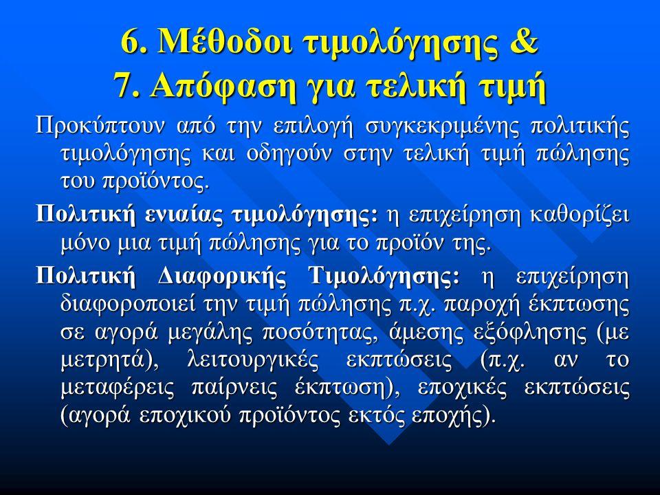 6. Μέθοδοι τιμολόγησης & 7. Απόφαση για τελική τιμή Προκύπτουν από την επιλογή συγκεκριμένης πολιτικής τιμολόγησης και οδηγούν στην τελική τιμή πώληση