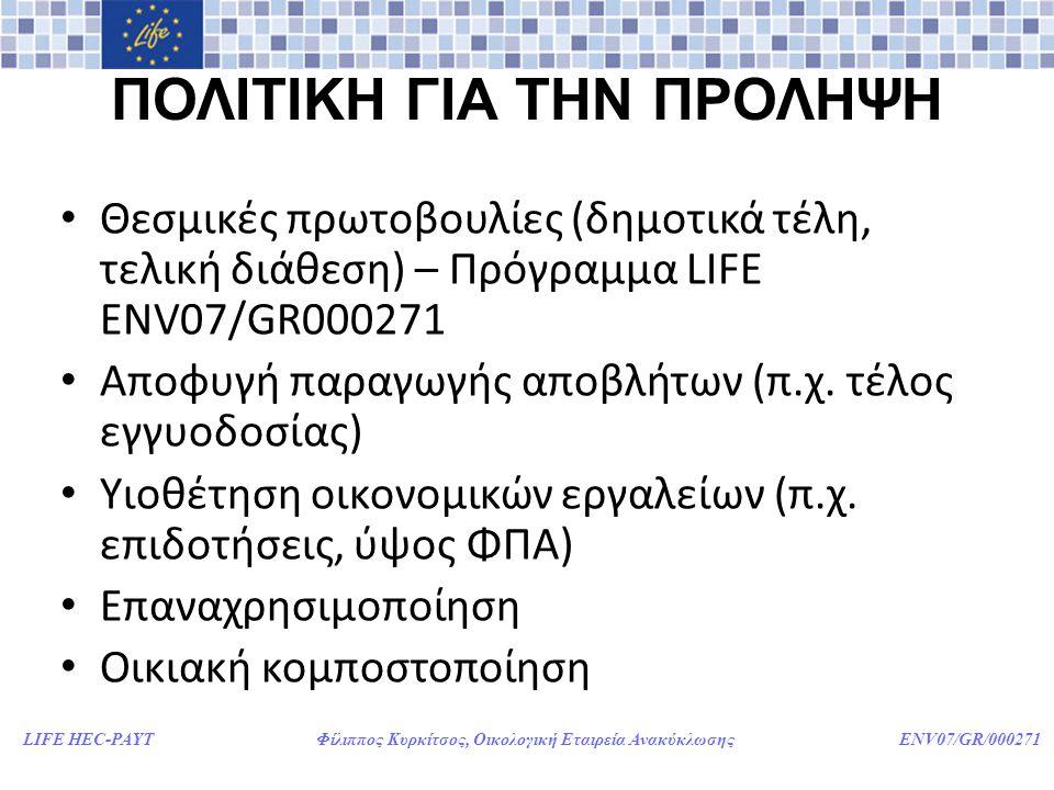 LIFE HEC-PAYT Φίλιππος Κυρκίτσος, Οικολογική Εταιρεία Ανακύκλωσης ENV07/GR/000271 ΠΟΛΙΤΙΚΗ ΓΙΑ ΤΗΝ ΠΡΟΛΗΨΗ • Θεσμικές πρωτοβουλίες (δημοτικά τέλη, τελική διάθεση) – Πρόγραμμα LIFE ENV07/GR000271 • Αποφυγή παραγωγής αποβλήτων (π.χ.