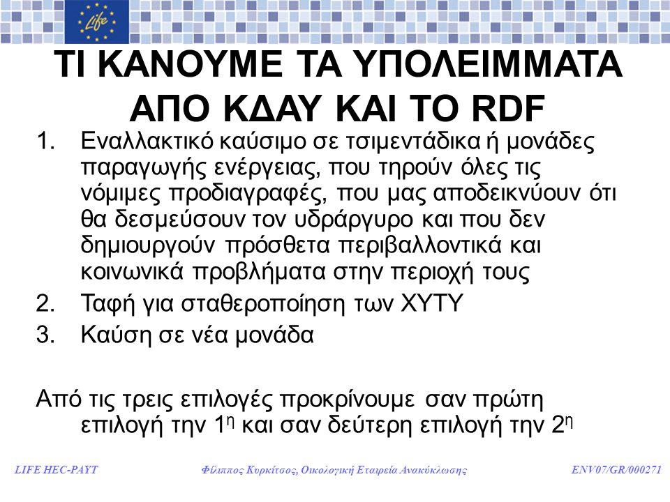 LIFE HEC-PAYT Φίλιππος Κυρκίτσος, Οικολογική Εταιρεία Ανακύκλωσης ENV07/GR/000271 ΤΙ ΚΑΝΟΥΜΕ ΤΑ ΥΠΟΛΕΙΜΜΑΤΑ ΑΠΟ ΚΔΑΥ ΚΑΙ ΤΟ RDF 1.Εναλλακτικό καύσιμο σε τσιμεντάδικα ή μονάδες παραγωγής ενέργειας, που τηρούν όλες τις νόμιμες προδιαγραφές, που μας αποδεικνύουν ότι θα δεσμεύσουν τον υδράργυρο και που δεν δημιουργούν πρόσθετα περιβαλλοντικά και κοινωνικά προβλήματα στην περιοχή τους 2.Ταφή για σταθεροποίηση των ΧΥΤΥ 3.Καύση σε νέα μονάδα Από τις τρεις επιλογές προκρίνουμε σαν πρώτη επιλογή την 1 η και σαν δεύτερη επιλογή την 2 η