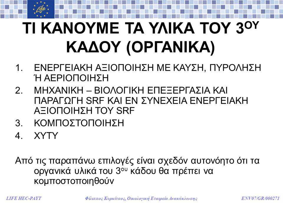 LIFE HEC-PAYT Φίλιππος Κυρκίτσος, Οικολογική Εταιρεία Ανακύκλωσης ENV07/GR/000271 ΤΙ ΚΑΝΟΥΜΕ ΤΑ ΥΛΙΚΑ ΤΟΥ 3 ΟΥ ΚΑΔΟΥ (ΟΡΓΑΝΙΚΑ) 1.ΕΝΕΡΓΕΙΑΚΗ ΑΞΙΟΠΟΙΗΣΗ ΜΕ ΚΑΥΣΗ, ΠΥΡΟΛΗΣΗ Ή ΑΕΡΙΟΠΟΙΗΣΗ 2.ΜΗΧΑΝΙΚΗ – ΒΙΟΛΟΓΙΚΗ ΕΠΕΞΕΡΓΑΣΙΑ ΚΑΙ ΠΑΡΑΓΩΓΗ SRF ΚΑΙ ΕΝ ΣΥΝΕΧΕΙΑ ΕΝΕΡΓΕΙΑΚΗ ΑΞΙΟΠΟΙΗΣΗ ΤΟΥ SRF 3.ΚΟΜΠΟΣΤΟΠΟΙΗΣΗ 4.ΧΥΤΥ Από τις παραπάνω επιλογές είναι σχεδόν αυτονόητο ότι τα οργανικά υλικά του 3 ου κάδου θα πρέπει να κομποστοποιηθούν