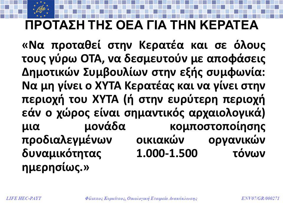 LIFE HEC-PAYT Φίλιππος Κυρκίτσος, Οικολογική Εταιρεία Ανακύκλωσης ENV07/GR/000271 ΠΡΟΤΑΣΗ ΤΗΣ ΟΕΑ ΓΙΑ ΤΗΝ ΚΕΡΑΤΕΑ «Να προταθεί στην Κερατέα και σε όλους τους γύρω ΟΤΑ, να δεσμευτούν με αποφάσεις Δημοτικών Συμβουλίων στην εξής συμφωνία: Να μη γίνει ο ΧΥΤΑ Κερατέας και να γίνει στην περιοχή του ΧΥΤΑ (ή στην ευρύτερη περιοχή εάν ο χώρος είναι σημαντικός αρχαιολογικά) μια μονάδα κομποστοποίησης προδιαλεγμένων οικιακών οργανικών δυναμικότητας 1.000-1.500 τόνων ημερησίως.»